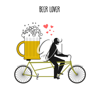 Beer lover. Beer mug on bicycle. Lovers of cycling tandem. Romantic date. Romantic illustration alcohol