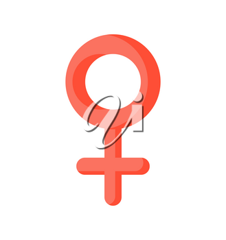 Female sign isolated. Pink woman symbol on white background