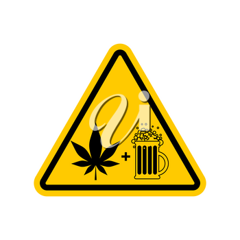 Attention Drugs and alcohol. Dangers yellow road sign. beer and marijuana Caution