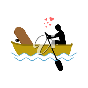 Lover skateboarding. Skateboard and guy ride in boat. Lovers of sailing. Romantic date. love extreme sport.