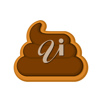 Shit cookie. Cookies turd for Halloween. Vector illustration