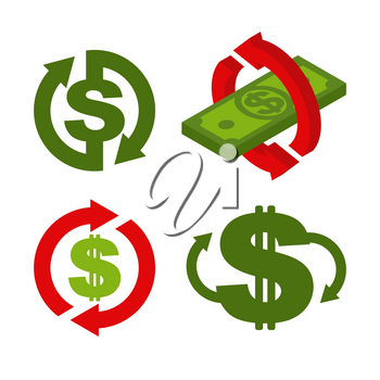 Cash back icon set. Symbol is return of Money. Sign of a refund of dollars. Business vector illustration