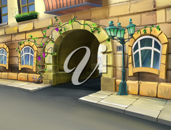 Digital painting of the arched gate. Enter the courtyard of an apartment house