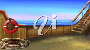 Digital painting of the deck of a small ship