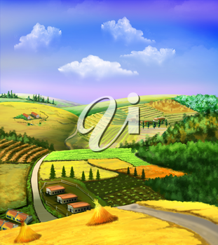 Digital painting of the rural landscape with wheat fields, grove, road and cloudy sky.