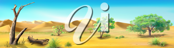 Digital painting of the African Savannah in a summer morning with acacia trees and dried tree. Panorama.