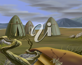Digital Painting, Illustration of a Traditional Tent in Tundra, Yurt. Realistic Cartoon Style