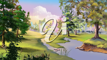 Beautiful view of idyllic autumn landscape with River and Forest Edge. Digital Painting Background, Illustration.