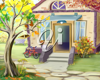 Small Cottage in Early Autumn. Digital Painting Background, Illustration in cartoon style character.