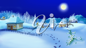 Christmas Night in Old Traditional Ukrainian Village.   Handmade illustration in a classic cartoon style.