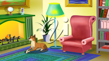 Big yellow dog lies near a chimney and waits for the owner. Digital painting  cartoon style full color illustration.