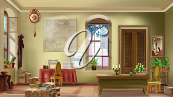 Interior of a vintage room with antique furniture on a sunny day. Digital Painting Background, Illustration in cartoon style character.