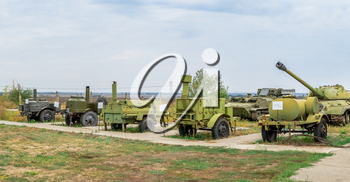 Pobugskoe, Ukraine 09.14.2019. Old military equipment in the Soviet Strategic Nuclear Forces Museum, Ukraine, on a sunny day