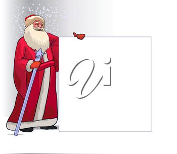 Santa Claus or Ded Moroz Cartoon Character for Christmas Holding Blank Board Isolated in White Background. Vector Illustration