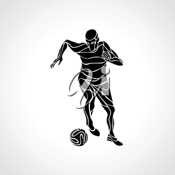 Soccer player kicks the ball. Black silhouette abstract illustration on white background.