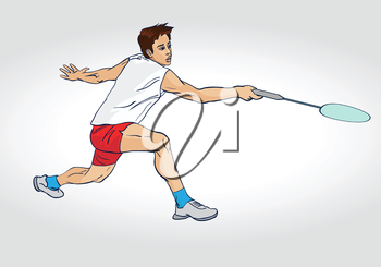 Professional badminton player. Colorful hand drawn character. Vector illustration