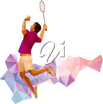 Unusual colorful triangle shape: Geometric polygonal professional badminton player, during smash isolated on white background