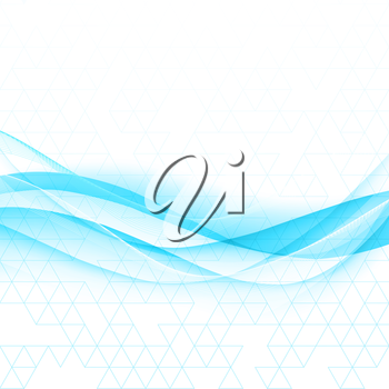 Vector Abstract blue curved lines background. Template brochure design