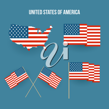 Vector Set of american flag and map. Flat design