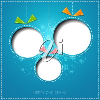 Merry Christmas tree greeting card. Paper design. Vector illustration. EPS 10