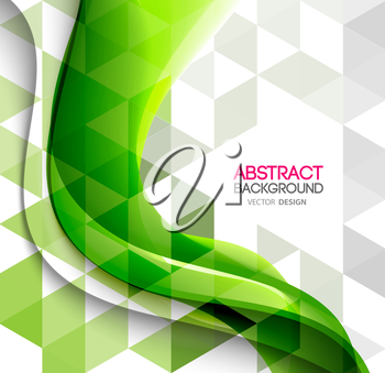 Vector Abstract background curved lines with triangle. Template brochure design