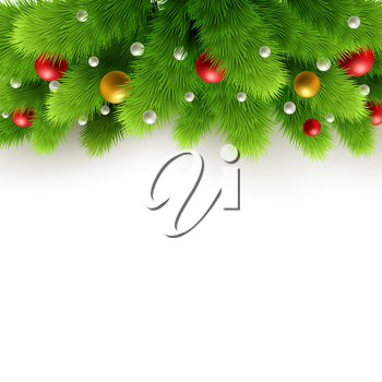 Winter background with isolated pine branch and baubles. Christmas  tree decoration. Vector illustration.