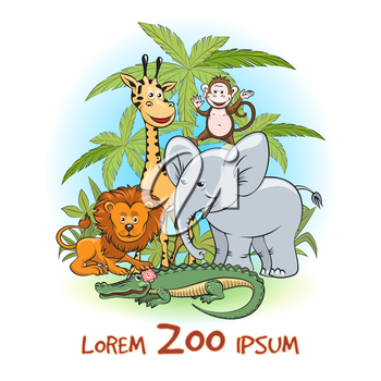 Zoo Cartoon animals logo. Animals with trees and zoo text. Vector illustration