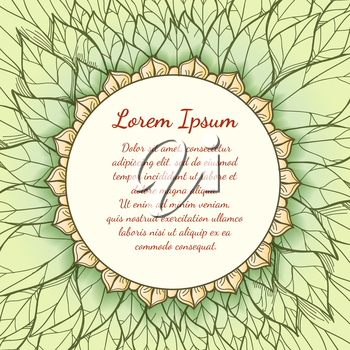 Hand drawn floral background with vintage label with text. Vector illustratuin