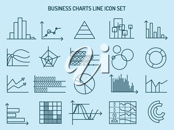 Business line icons. Charts signs, graphs symbols and diagrams. Vector illustration