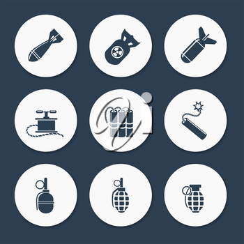 Military icons set vector. Flat bombs dynamits and military rocket