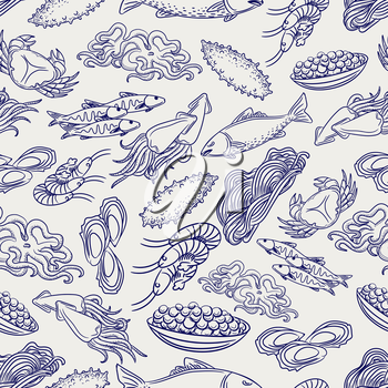 Hand drawn healthy seafood seamless pattern. Ball pen drawing background, vector illustration