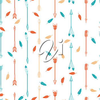 Colorful boho seamless pattern with arrows and feathers. Vector illustration