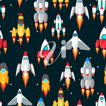 Space seamless pattern vector illustration. Pattern with spaceships and stars