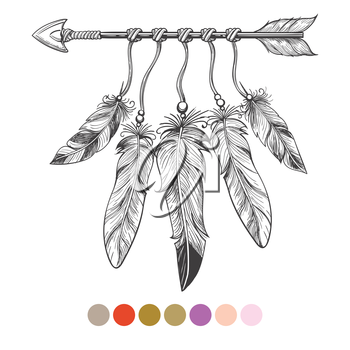 Handdrawn colorng boho element. Arrow and feathers on white background with color swatches. Vector illustration