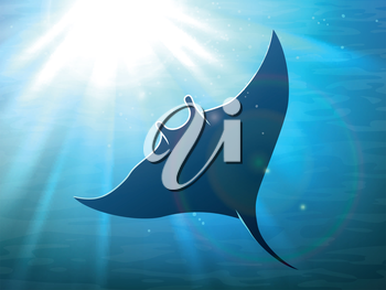 Dark manta ray in ocean deep water with light rays. Vector illustration