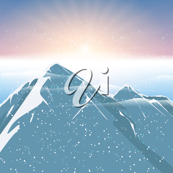 Polar sunrise mountain and snowfalling landscape background. Vector illustration