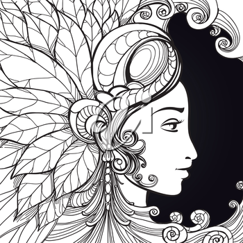 Coloring zentangle woman face and decorative elements on black background. Vector illustration