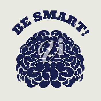 Ball pen colors brain and sign be smart vector illustration. Isolated banner for design prints stickers etc