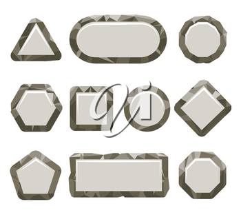 Cartoon stone buttons isolated on white background. Indie game grey rock button set vector illustration