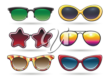 Colored sunglasses vector illustration. Sun eyeglasses with reflection for cool summer in retro or vintage style isolated on white