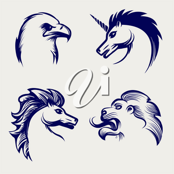 Engraving style animal design. Vector heads of horse, eagle, lion and unicorn