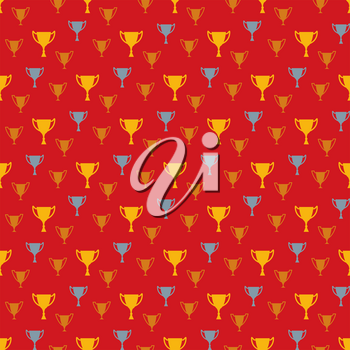 Awards seamless pattern. Vector background with golden, silver and bronze winner cups