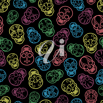 Decorative colorful mexican skulls seamless pattern, vector illustration