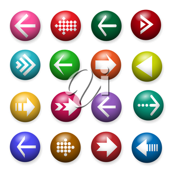 Navigation arrow button. Left and right, forward and back website arrows icons infographic set