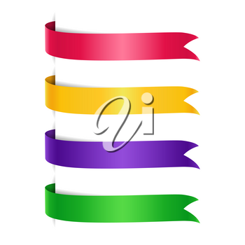 Set of colored arrow ribbons. Red, yellow and purple, green banners, flags, vector illustration