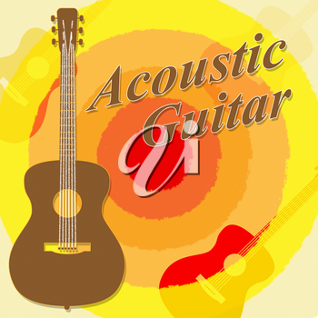 Acoustic Guitar Showing Rock Guitarist And Music