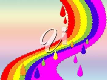 Rainbow Background Showing Dripping Art And Colorful