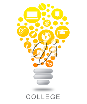College Lightbulb Meaning Power Source And Illuminated