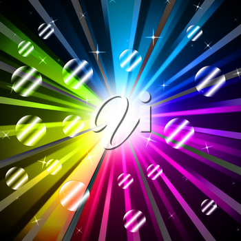 Colorful Rays Background Showing Glowing And Party