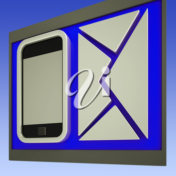 Envelope And Smartphone Shows Mobile Communication And Messaging